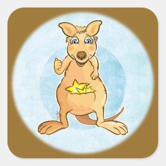 kangaroo brown square sticker