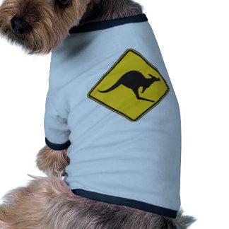 Kangaroo Caution Sign Doggie T-shirt