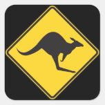 Kangaroo Caution Sign Stickers