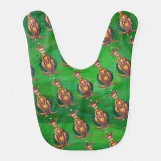 Kangaroo Christmas on Painted Green Back Baby Bib