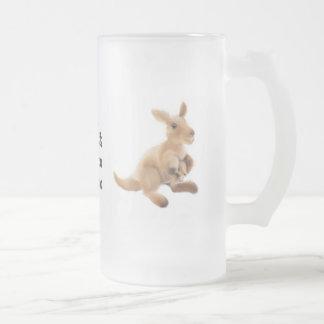 Kangaroo Collection Frosted Glass Beer Mug