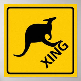 Kangaroo Crossing Highway Sign
