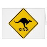 Kangaroo Crossing Highway Sign Card