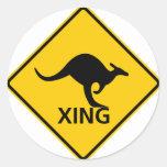 Kangaroo Crossing Highway Sign Round Stickers