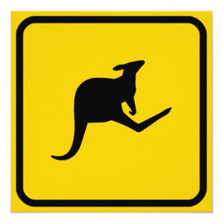"Kangaroo Crossing Invitation 5.25"" Square Invitation Card"