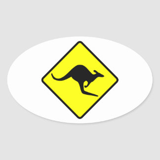 Kangaroo Crossing Road Sign Oval Sticker