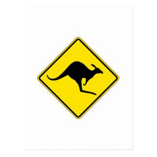 Kangaroo Crossing, Traffic Warning Sign, Australia Postcard