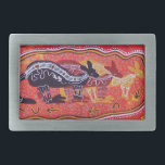 "Kangaroo Dreaming Belt Buckle<br><div class=""desc"">Original artwork by renowned Australian Aboriginal artist Mundara Koorang</div>"