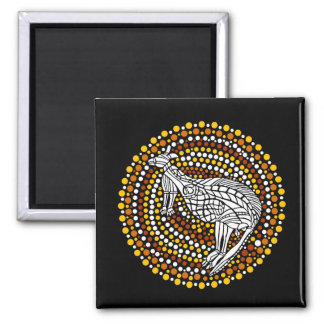 Kangaroo Dreamtime 2 Inch Square Magnet