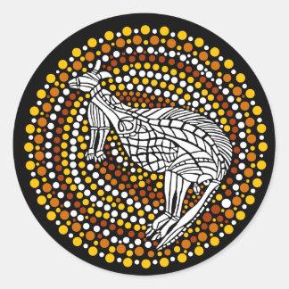 Kangaroo Dreamtime Classic Round Sticker