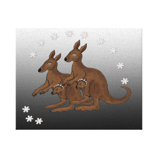 Kangaroo Family Baby in Pouch Wrapped Canvas