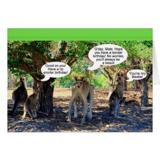 Kangaroo Family Happy Birthday Humor Card