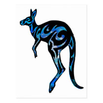KANGAROO IN BLUE POSTCARD