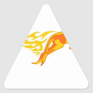 Kangaroo in Flames Triangle Sticker