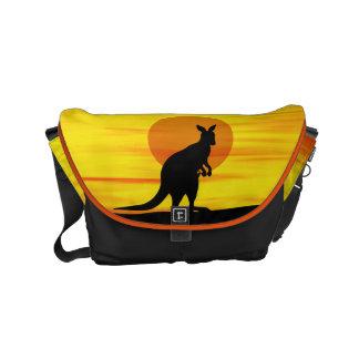 Kangaroo in outback Sunset Small Messenger Bag