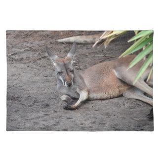 kangaroo lying down eyes closed animal cloth placemat