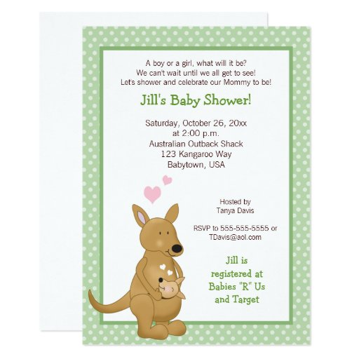 Kangaroo Neutral Baby Shower Invitation Green