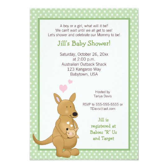 kangaroo neutral baby shower invitation green zazzle