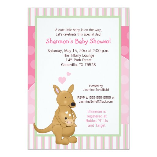 Kangaroo Pink Mommy Invitation