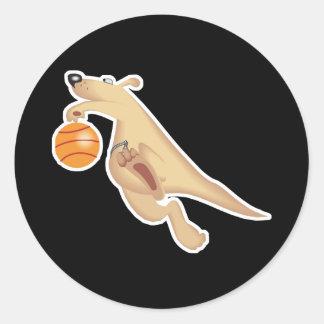 kangaroo playing basketball classic round sticker