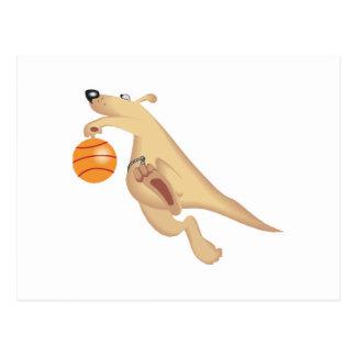 kangaroo playing basketball postcard