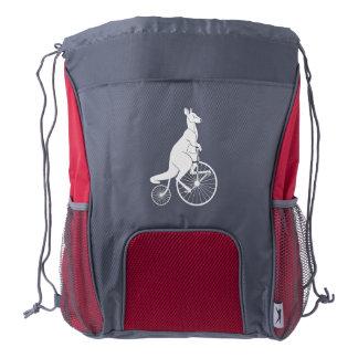 Kangaroo Rider on a Bike Drawstring Backpack