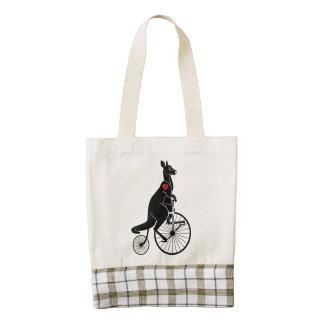 Kangaroo Rider on Penny Farthing Bike Zazzle HEART Tote Bag