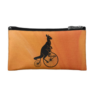 Kangaroo Riding a Bike Cosmetic Bag
