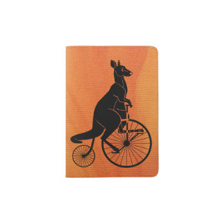 Kangaroo Riding a Bike Passport Holder