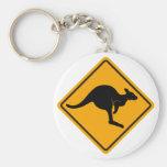 Kangaroo Road Sign Basic Round Button Keychain