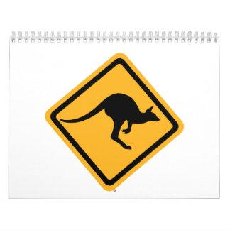 Kangaroo road sign calendar