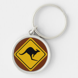 kangaroo road sign keychain