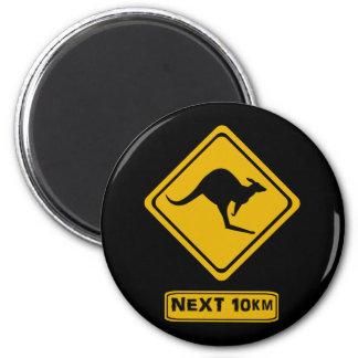 kangaroo road sign magnet