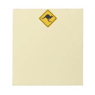 kangaroo road sign memo notepad