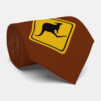 kangaroo road sign neck tie