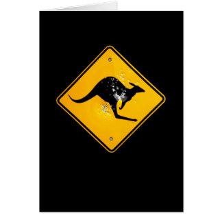 Kangaroo road sign outback card