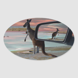 Kangaroo_Sea_Breezes,_ Oval Sticker