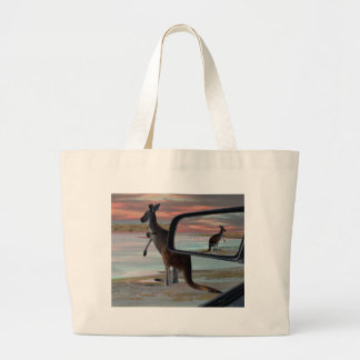 Kangaroo Seaside Breezes Illusion Art, Large Tote Bag