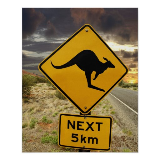 Kangaroo sign, Australia Posters