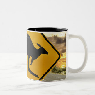 Kangaroo sign, Australia Two-Tone Coffee Mug