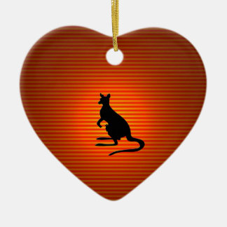 Kangaroo Silhouette on Orange and Red Stripes Ceramic Ornament