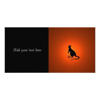 Kangaroo Silhouette on Orange and Red Stripes Photo Card