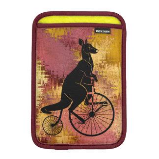 Kangaroo Silhouette Riding a Bike Sleeve For iPad Mini