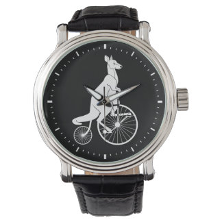 Kangaroo Silhouette Riding a Bike Wrist Watches