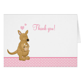 Kangaroo Thank you Notes - Mommy and Baby Pink