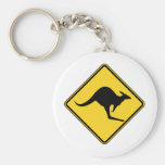 kangaroo warning danger in australia day basic round button keychain