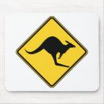 kangaroo warning danger in australia day mousepads