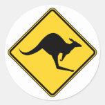 kangaroo warning danger in australia day classic round sticker