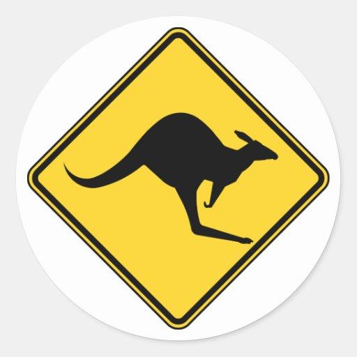 kangaroo warning danger in australia day stickers