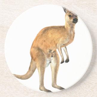 Kangaroo with Baby Joey Drink Coaster